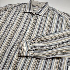Bugatchi Uomo XL Striped Long Sleeve Dress Shirt